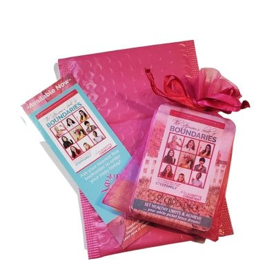 cards in a pink bag
